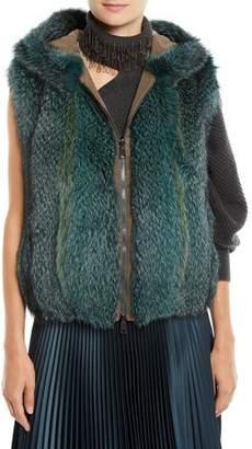 Brunello Cucinelli Zip-Front Fox-Fur Reverses to Taffeta Vest w/ Hood