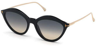 Tom Ford Chloe Cat-Eye Acetate & Metal Sunglasses