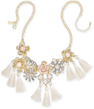 "INC International Concepts I.n.c. Gold-Tone Imitation Pearl & Crystal Flower Statement Necklace, 18"" + 3"" extender, Created for Macy's"