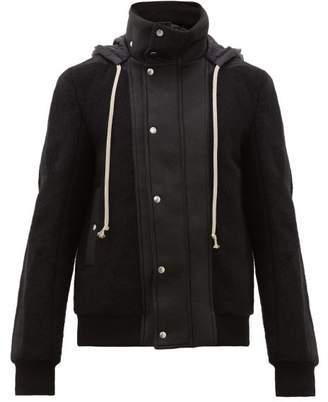Rick Owens Dustulator Wool And Leather Hooded Jacket - Mens - Black