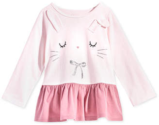 First Impressions Baby Girls Bunny-Print Cotton Peplum Tunic
