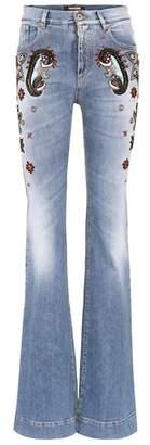 Roberto Cavalli Beaded high-waist jeans