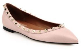 Valentino Rockstud Pebbled Leather Flats $775 thestylecure.com