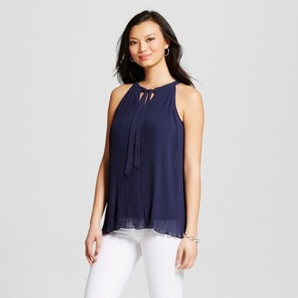 U-knit Women's Pleated Tie Neck Woven Tank Blouse $34.99 thestylecure.com