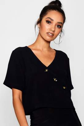 boohoo Petite Button Front Short Sleeve Blouse
