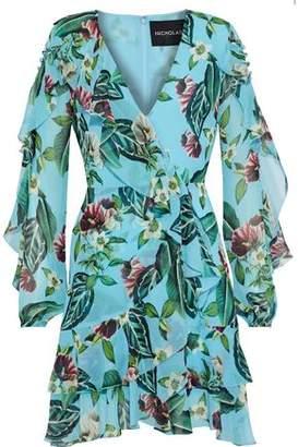 Nicholas Wrap-effect Ruffled Floral-print Silk-georgette Mini Dress