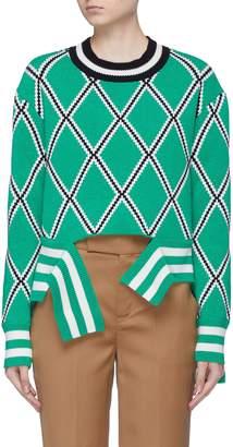 MRZ Split front hem diamond jacquard cropped sweater