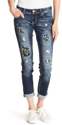 Grace In LA Denim Embroidered Patch Skinny Jeans