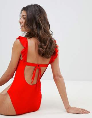Warehouse swimsuit with frill detail in red