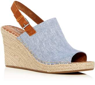 Toms Women's Monica Hemp Chambray Espadrille Platform Wedge Sandals