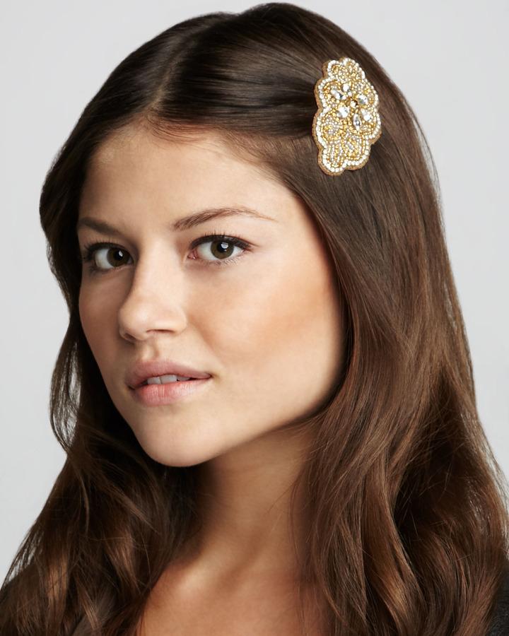 Deepa Gurnani Beaded Hair Clip, Gold