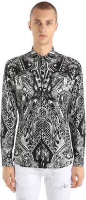 Just Cavalli Dragons Printed Stretch Poplin Shirt
