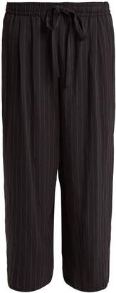 Vince Wide-leg pin-striped tie-waist trousers