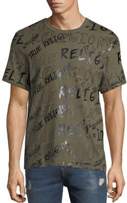 True Religion Men's Logo Mania Short-Sleeve T-Shirt