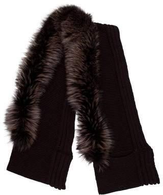 Gucci Fox Fur-Trimmed Wool Scarf