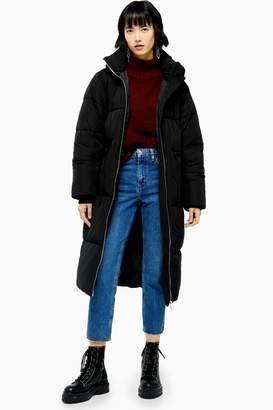 Topshop Black Longline Padded Puffer Jacket