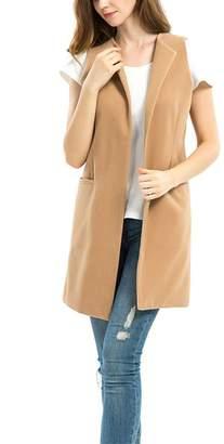 Yeokou Women's Slim Long Suit Vest Wasitcoat Sleeveless Blazer Jacket Cardigans