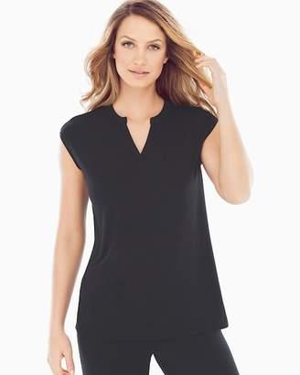 Cool Nights Cap Sleeve V-Neck Popover Pajama Top Black