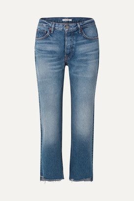 GRLFRND Helena Cropped Distressed Mid-rise Straight-leg Jeans - Mid denim