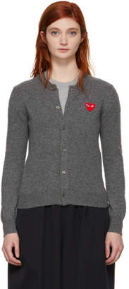 Comme des Garcons Grey and Red Heart Cardigan