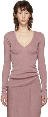 Stella McCartney Pink Lurex V-Neck Sweater