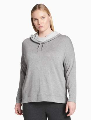Calvin Klein plus size performance cowl neck drop shoulder hoodie