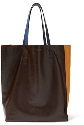 Marni Museum Colour Block Leather Tote - Womens - Black Yellow