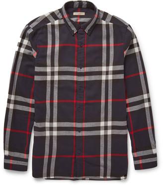 Burberry Brit Slim-Fit Checked Cotton-Flannel Shirt $350 thestylecure.com