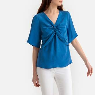 Suncoo Draped Front Short-Sleeved Blouse