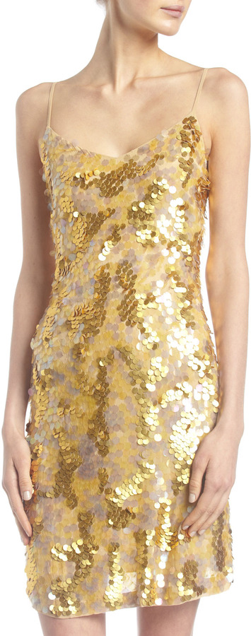 Alexia Admor Pailette Mini Dress, Gold