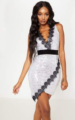 PrettyLittleThing Silver Sequin Lace Insert Bodycon Dress