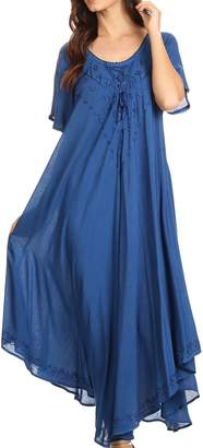 Sakkas 1701 - Lilia Embroidered Lace up Bodice Relaxed Fit Maxi Sun Dress - Turq - OS