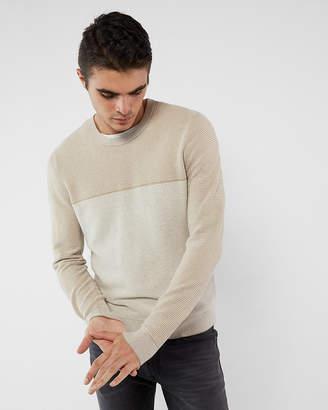 Express Texture Blocked Crew Neck Cotton Sweater