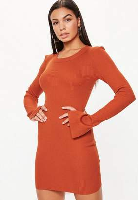 Missguided Orange Bodycon RIbbed Knit Dress