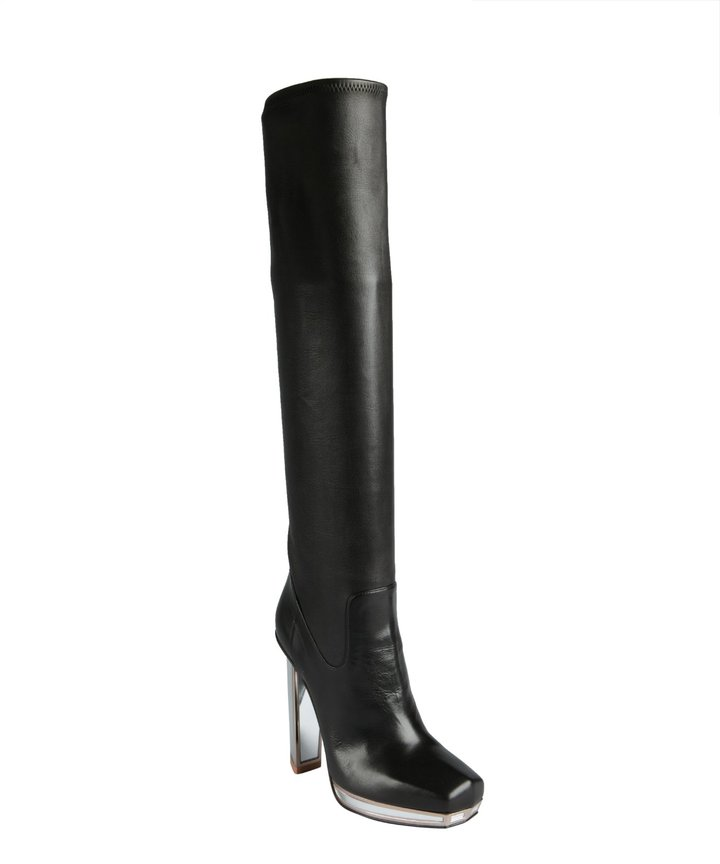 Yves Saint Laurent Black Leather And Mirrored Heel Platform Tall Boots