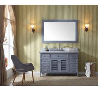 """Ariel D055S Kensington 55"""" Free Standing Vanity Set with Wood Cabinet, Marble To"""