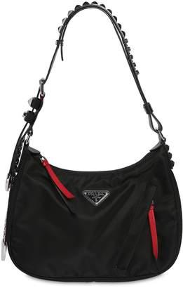 Prada New Vela Nylon Shoulder Bag W/ Studs