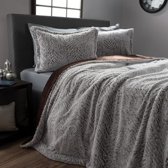 Faux Fur Comforter Set, 3 Piece Full/Queen Comforter and Sham Set With Mink Faux Fur By Somerset Home (Full/Queen Size) (Gray/Chocolate/Black)