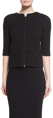 Armani Collezioni Half-Sleeve Jersey Swing Jacket, Black $795 thestylecure.com