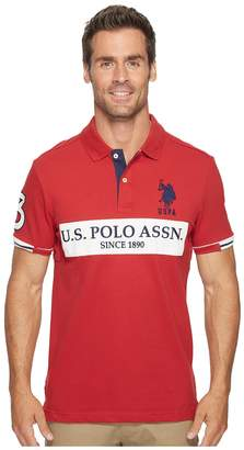 U.S. Polo Assn. Slim Fit Color Block Short Sleeve Stretch Pique Polo Shirt Men's Short Sleeve Pullover