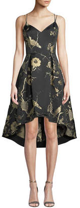 Aidan Mattox Jacquard Fit-&-Flare High-Low Dress
