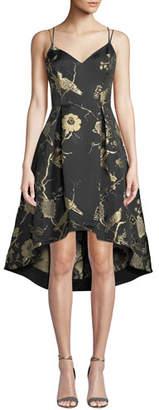 Aidan Mattox Jacquard Fit-&-Flare High-Low Dress