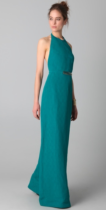 Derek lam Backless Halter Gown with Metal Buckle