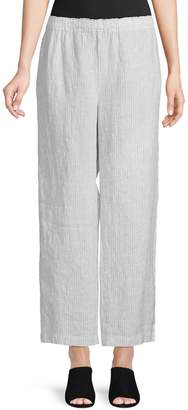 Eileen Fisher Mini Stripe Straight Cropped Pants