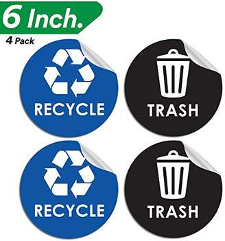 """Recycle Trash Bin Logo Sticker - 6"""" x 6"""" - Organize & Coordinate Garbage Waste from Recycling - Great for Metal Aluminum Steel or Plastic Trash Cans - Indoor & Outdoor - Use at Home Kitchen & Office"""