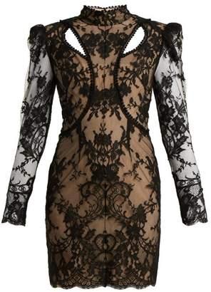 Alexander McQueen High Neck Cotton Blend Lace Dress - Womens - Black