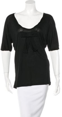 Mulberry Bow-Accented Scoop Neck T-Shirt $75 thestylecure.com
