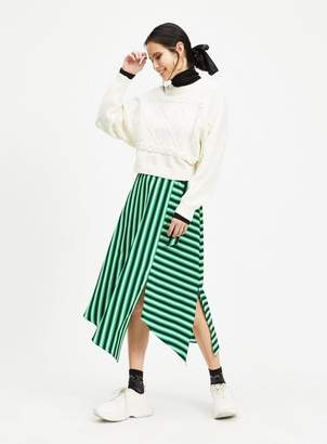 Miss Selfridge Green stripe midi skirt