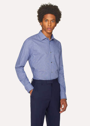 Paul Smith Men's Tailored-Fit Navy And Blue Check Cotton Shirt