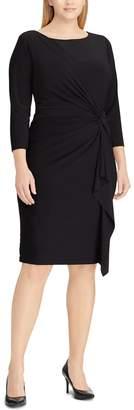 Chaps Plus Size Knot-Front Ruffle Sheath Dress